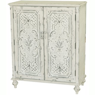 Hand-painted Distressed Antique White Finish Accent Chest