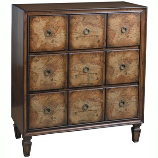 Hand Painted Distressed Chestnut Finish Accent Chest
