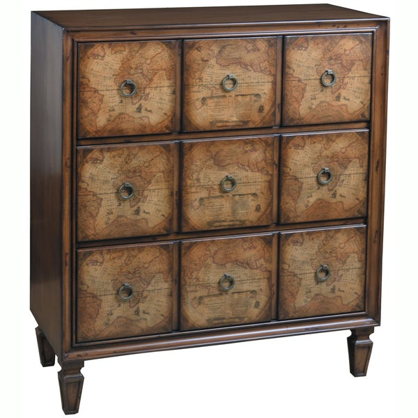 Hand Painted Distressed Coffee Table: Hand Painted Distressed Chestnut Finish Accent Chest