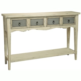 Hand Painted Distressed Antique White Finish Accent Console Table