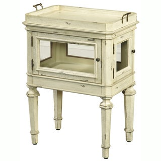 Hand Painted Distressed Cream Finish Accent Table