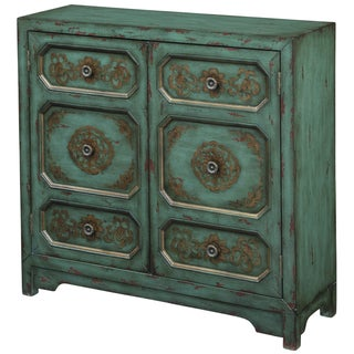Hand Painted Distressed Antique Turquoise Blue Finish Accent Chest