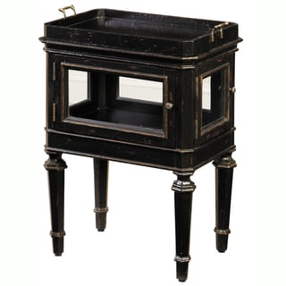 Hand Painted Distressed Black Finish Accent Table