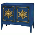 Hand Painted Distressed Blue Finish Accent Chest