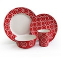 American Atelier Trellis Red 16-piece Dinnerware Set