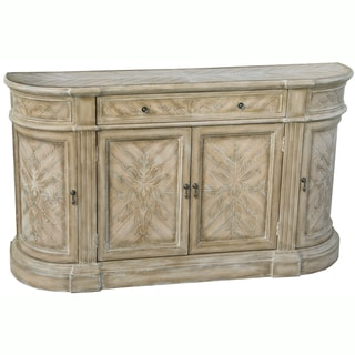 Hand Painted Distressed Natural and White Finish Credenza