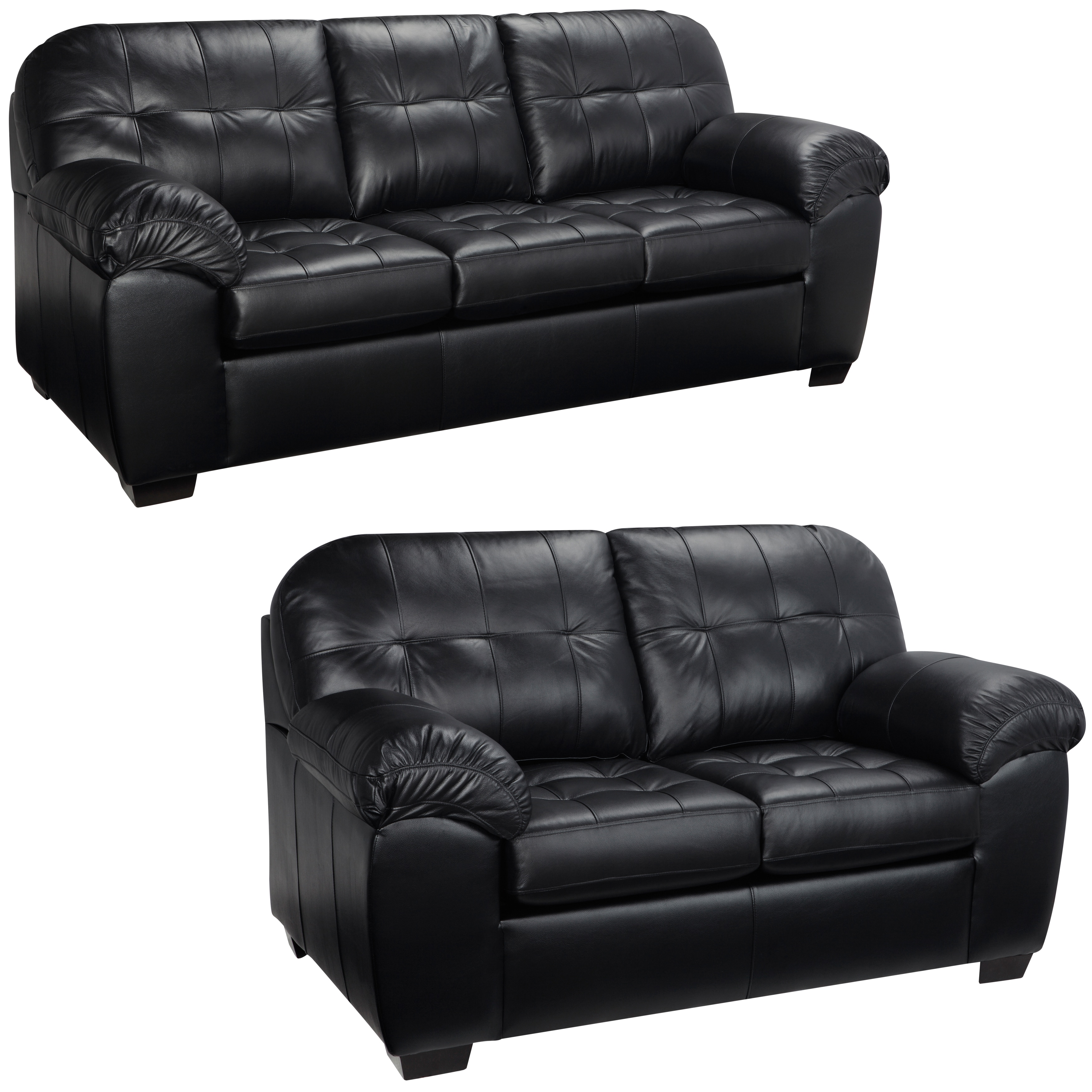 Emma Black Italian Leather Sofa And Loveseat Overstock Shopping Great Deals On Sofas Loveseats