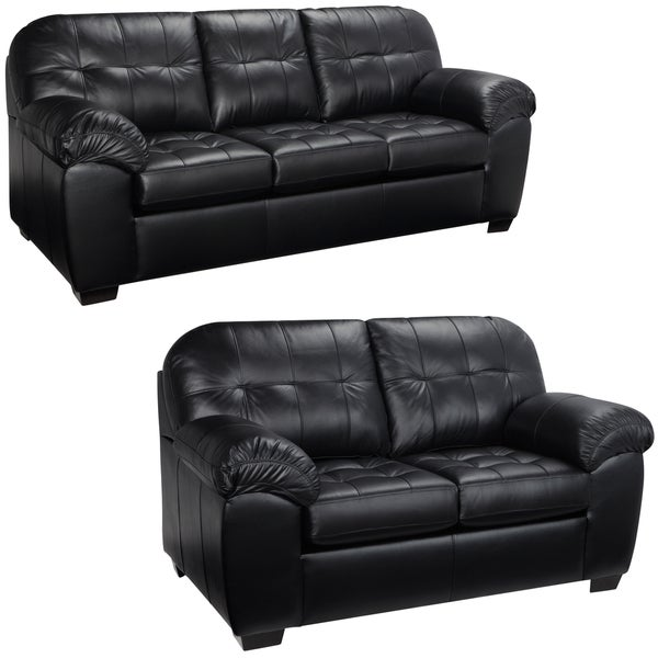 Emma Black Italian Leather Sofa And Loveseat 15442181 Shopping Big Discounts
