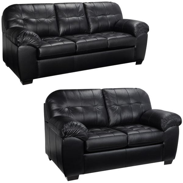 Emma Black Italian Leather Sofa And Loveseat 15442181