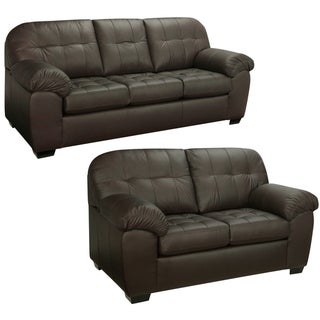 Isabella Chocolate Brown Italian Leather Sofa and Loveseat