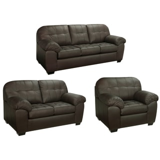 Isabella Chocolate Brown Italian Leather Sofa, Loveseat and Chair