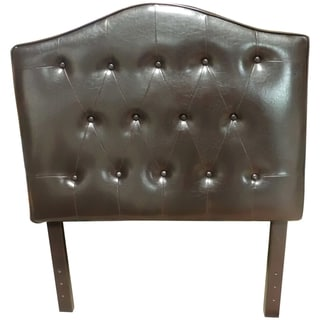 Classic Twin Size Brown Faux Leather Button Tufted Headboard