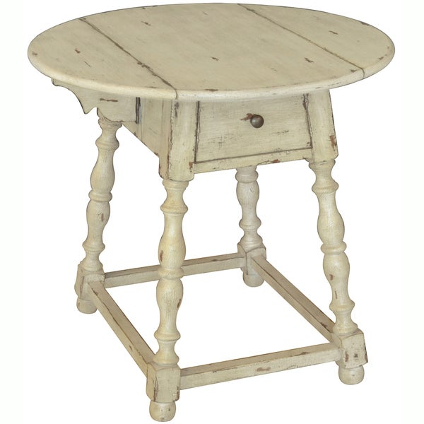 Hand Painted Distressed Coffee Table: Hand Painted Distressed Antique Cream Finish Accent Table