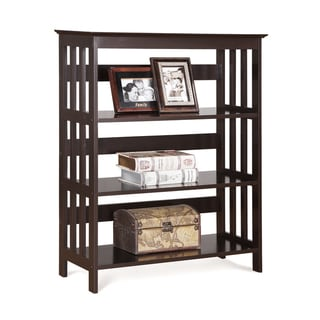 4 Tier Espresso Wood Bookshelf Bookcase Display Cabinet