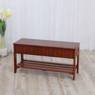 Walnut Finish Solid Wood Storage Shoe Bench Shelf