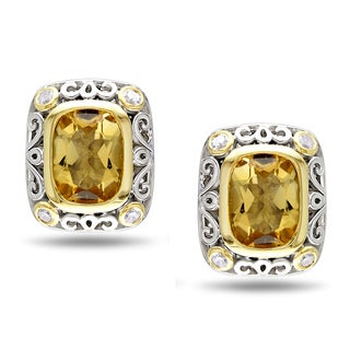Miadora Sterling Silver Citrine 1/8ct TDW Diamond Earrings (H-I, I2-I3)