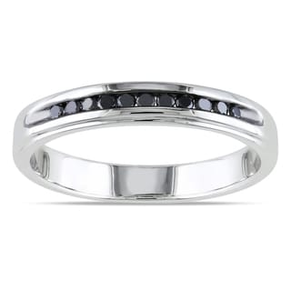 Miadora Sterling Silver 1/4ct TDW Men'a Black Diamond Wedding Band