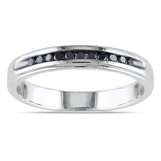 Miadora Sterling Silver 1/4ct TDW Men's Channel-set Black Diamond Wedding Band