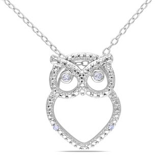 M by Miadora Sterling Silver Diamond Owl Necklace