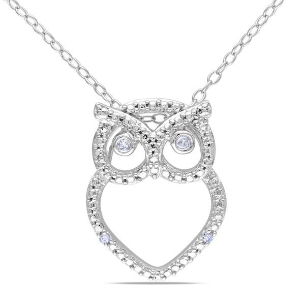 Miadora Sterling Silver Diamond Owl Necklace
