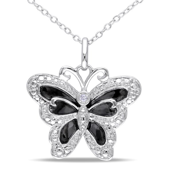 Haylee Jewels Sterling Silver Diamond Butterfly Necklace