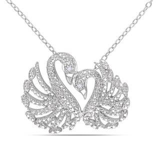 Miadora Sterling Silver Diamond Double Swan Necklace