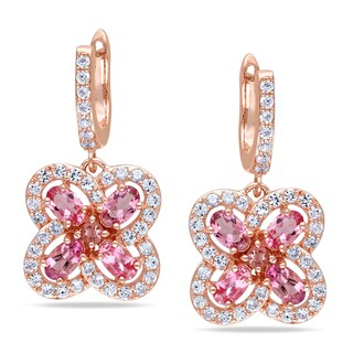 Miadora Rose Goldplated Silver Tourmaline and Created White Sapphire Earrings