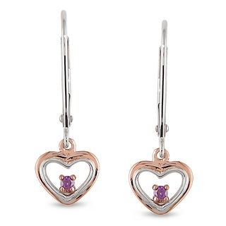 Miadora 10k Two-tone Gold Pink Diamond Dangle Earrings