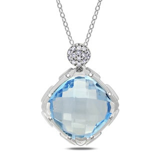 Miadora Sterling Silver 8ct TGW Blue Topaz and Diamond Necklace