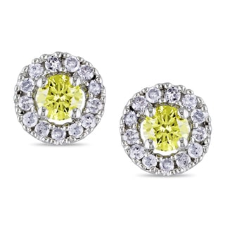 Miadora 10k White Gold 1/3ct Yellow and White Diamond Cluster Earrings