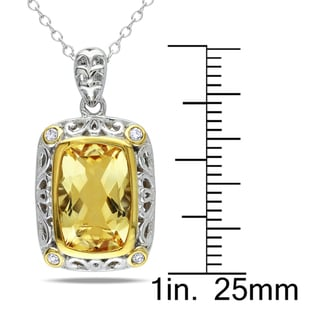 Miadora Sterling Silver Citrine 1/10ct TDW Diamond Necklace (H-I, I2-I3)