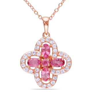 Miadora Rose Goldplated Silver Pink Tourmaline Flower Necklace