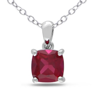 M by Miadora Sterling Silver Created Ruby Solitaire Necklace