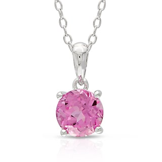 Miadora Sterling Silver Created Pink Sapphire Solitaire Necklace