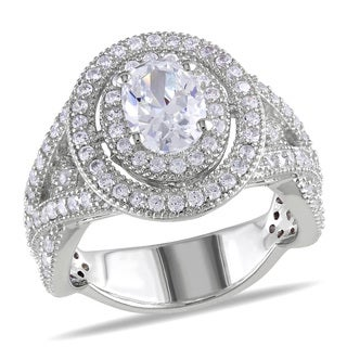 Miadora Sterling Silver Oval-cut Cubic Zirconia Engagement Ring
