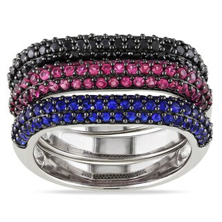 Miadora Sterling Silver Blue, Red and Black Cubic Zirconia Ring Set