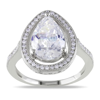 Miadora Sterling Silver White Pear-cut Cubic Zirconia Ring