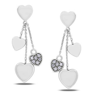 Miadora Signature Collection 14k White Gold 1/8ct TDW Diamond Dangle Earrings (G-H, SI1-SI2)