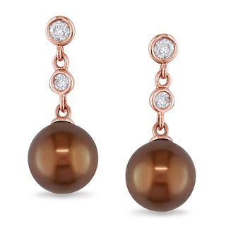 Miadora 14k Rose Gold Tahitian Pearl 1/5ct Diamond Earrings (G-H, I1-I2)