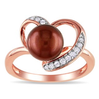 Miadora Rose Plated Silver Brown Pearl 1/10ct Diamond Ring (H-I, I2-I3)