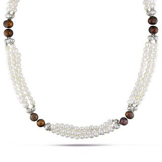 M by Miadora Goldtone Cultured Freshwater Pearl Necklace with Metal Beads