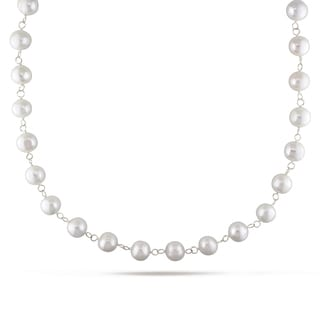 Miadora Sterling Silver White Cultured Freshwater Pearl Endless Necklace (10-11 mm)