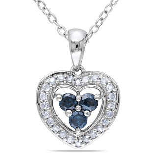 Miadora Sterling Silver 1/3ct TDW Blue and White Diamond Necklace (I2-I3)