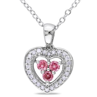 Miadora Sterling Silver 1/3ct TDW Pink and White Diamond Necklace