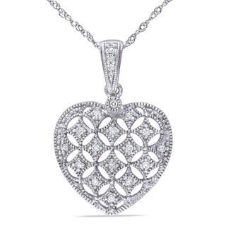 Miadora 14k White Gold 1/6ct TDW Diamond Heart Necklace (G-H, I1-I2)
