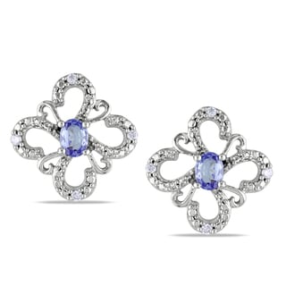 Miadora 10k White Gold Tanzanite and Diamond Stud Earrings
