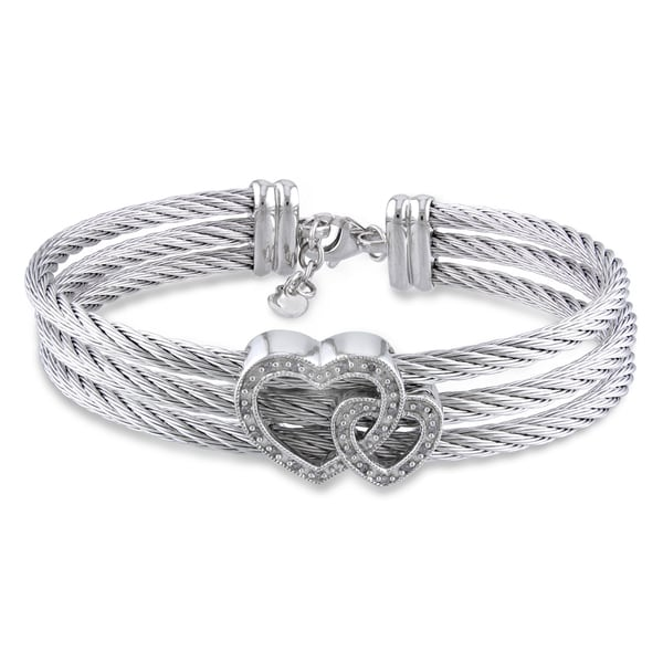 Miadora Stainless Steel and Silver Diamond Heart Bangle