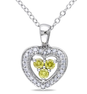 Miadora Silver 1/3ct TDW Yellow and White Diamond Necklace (H-I, I2-I3)