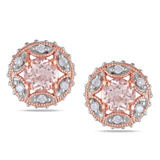 Miadora Rose Plated Silver Morganite 1/3ct TDW Diamond Earrings (H-I, I2-I3)