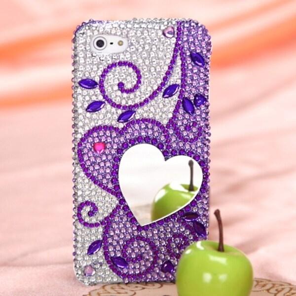 BasAcc Purple Heart Mirror Premium Diamante Case for Apple® iPhone 5